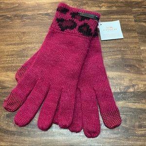 Coach Cranberry Ocelot Touch Gloves